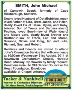 Example Funeral Notice in the Rockhampton Morning Bulletin newspaper.